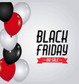 black friday sale red and black and white balloons vector image