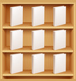 bookshelf and books with blank covers vector image