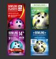 bowling poster set design for sport bar vector image