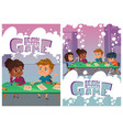 brainstorm game posters with thinking children vector image