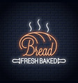 bread neon banner bakery neon sign on wall vector image vector image