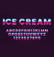 bright retro font with blue and pink gradient in vector image vector image