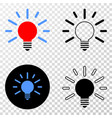 bulb light eps icon with contour version vector image