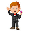 business man holding glass vector image