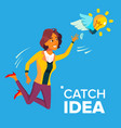 business woman jumps and tries to catch idea vector image