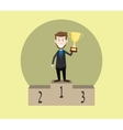 businessman champion on the top and holding trophy vector image