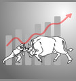 businessman fighting a bull with graph up vector image