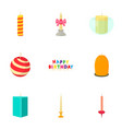 candle for the holiday icons set cartoon style vector image vector image