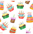 cartoon color cakes background pattern vector image vector image