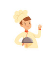 chef cook character with cloche boy in the vector image vector image