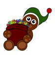 christmas bear holding a present bag vector image vector image
