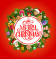 christmas holidays gifts and xmas tree wreath vector image vector image