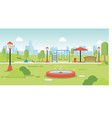 city park with park benches and kids playground vector image