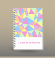 cover of diary pastel colored polygonal pattern vector image vector image