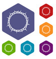 crown of thorns icons set hexagon vector image vector image