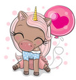 cute cartoon unicorn with pink balloon vector image