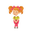 cute little girl sad that she peed vector image vector image