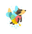 cute winged wolf flying with a magic wand fantasy vector image vector image
