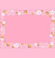 decorative frame of white and golden flowers and vector image vector image
