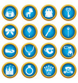doll princess items icons blue circle set vector image