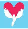 Dove Icon with Heart Shape Logo peace love vector image vector image