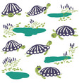 earthen turtle and reeds with pond icon set vector image