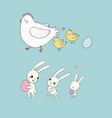 easter bunnies and chickens eggs and paint cute vector image vector image