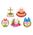 Easter egg rabbit flowers cartoon emblem set