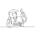 education concept one line drawing young happy vector image