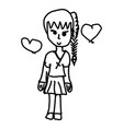 female student with two heart vector image vector image