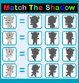 find the correct shadow of the rhino vector image vector image