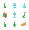 glass bottle icons set isometric style vector image vector image