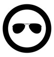 glasses icon black color in circle vector image vector image