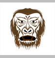 gorilla logo and ape with big angry face of vector image vector image