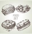 hand drawn food sketch set steak sub sandwich vector image vector image