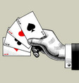 hand with ace playing cards fan vintage engraving vector image vector image