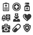 health care medical icons set vector image vector image