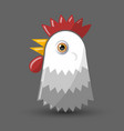 hen or chicken head icon isolated on grey vector image vector image