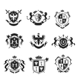 heraldic coat arms decorative emblems black set vector image vector image