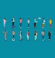 isometric teenagers stylish students uses hi tech vector image