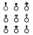 jewelry icons set wedding rings icon vector image vector image