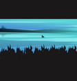 landscape background with dark silhouettes vector image vector image