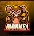 monkey mascot esport logo design vector image vector image