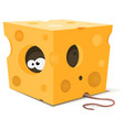 mouse eyes inside piece cheese vector image