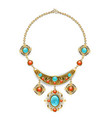 necklace with blue gems vector image