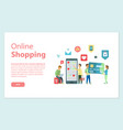 online shopping website with info and clients vector image