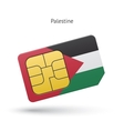 Palestine mobile phone sim card with flag vector image