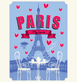parisian street cafe with famous eiffel tower vector image