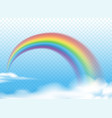 realistic rainbow on clouds vector image vector image
