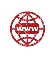 Red grunge www world logo vector image vector image